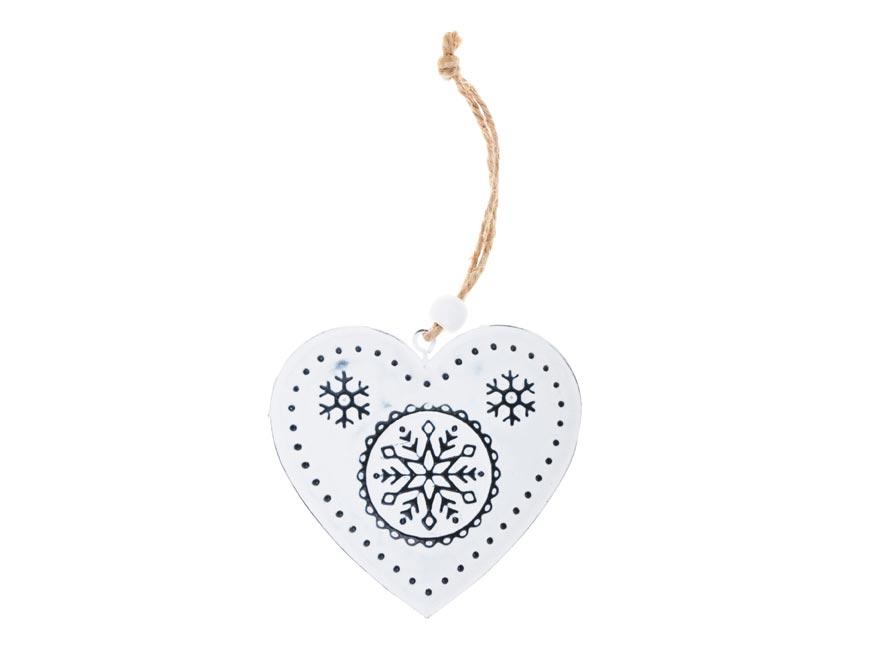 srdce plech 7,5cm so závesom - biele 8885830