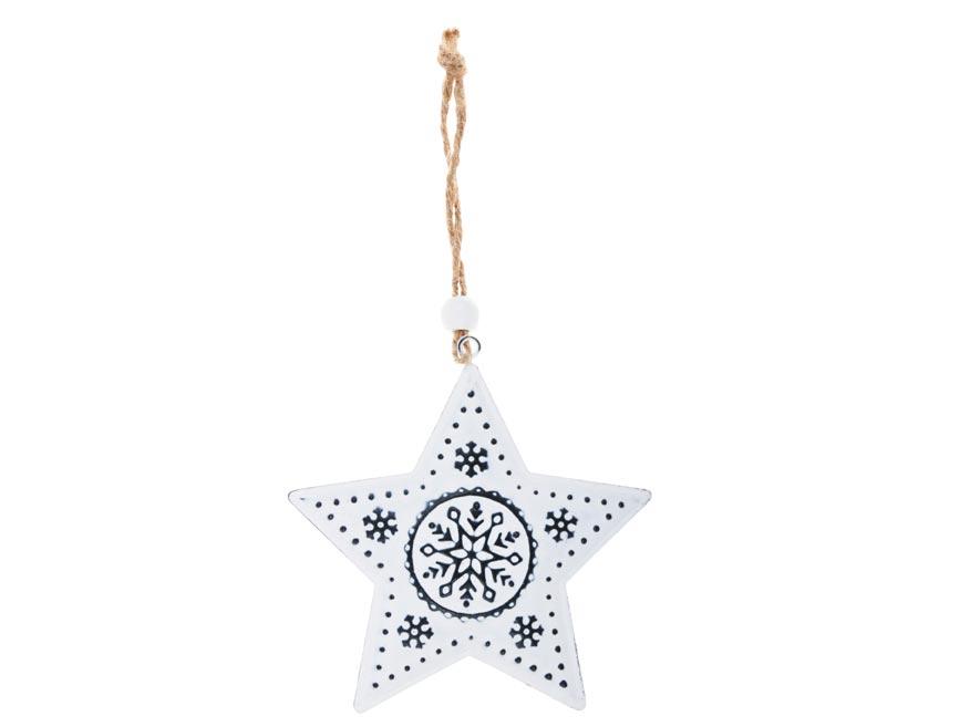 Hviezda plech 9cm so závesom - biela