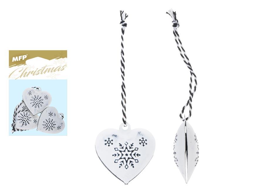 srdce 3ks plech 4,5cm so závesom - biele s ornamentom 8885833
