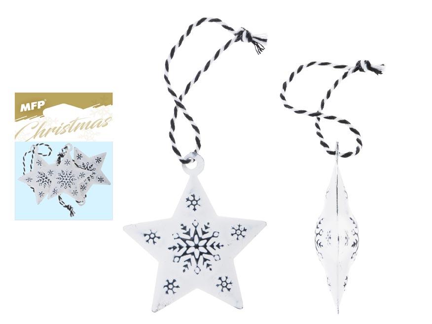 hviezda 3ks plech 4,5cm so závesom - biela s ornamentom 8885835