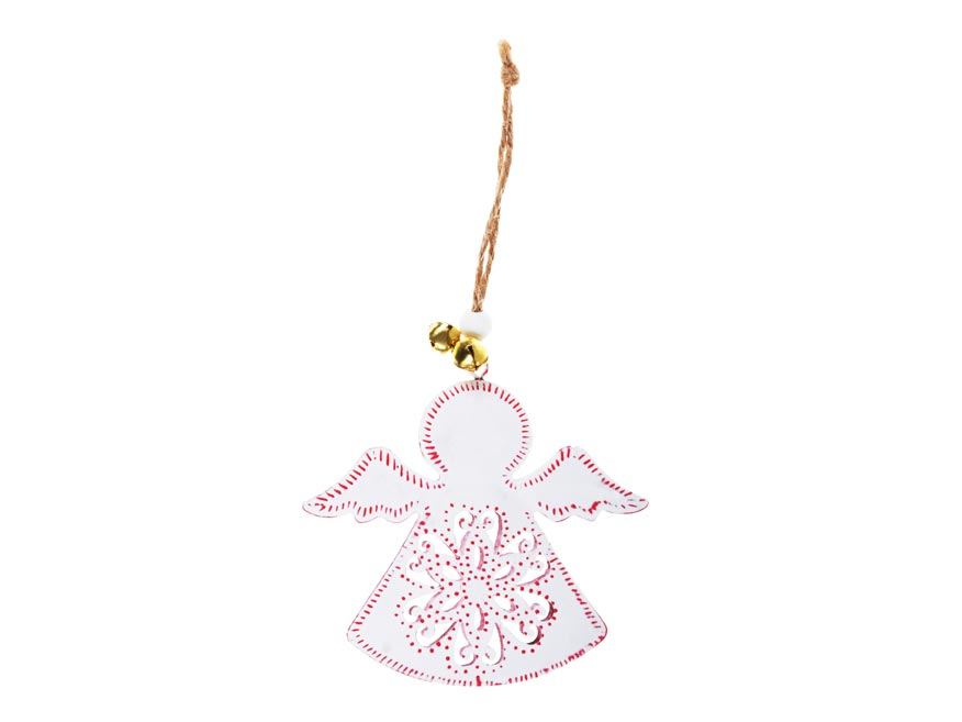 Anjel plech 9cm so závesom - biely s ornamentom