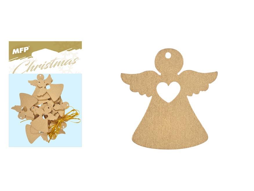Anjel  záves drevený zlatý 12ks/4,5cm XC20181278