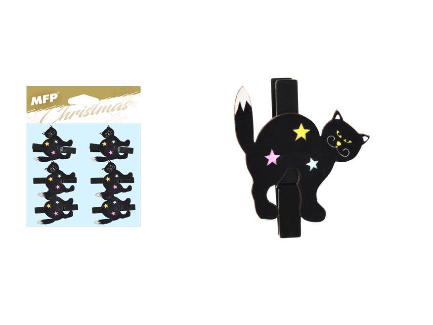 štipec drevený halloween mačka 6ks/4,8cm XC20181007 8885857