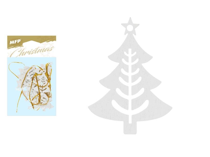 stromček záves drevený biely 12ks/4,5cm XC20181288 8885859