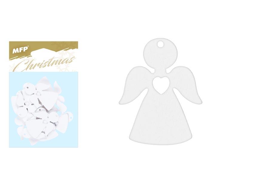 Anjel  záves drevený biely 12ks/4,5cm XC20181303