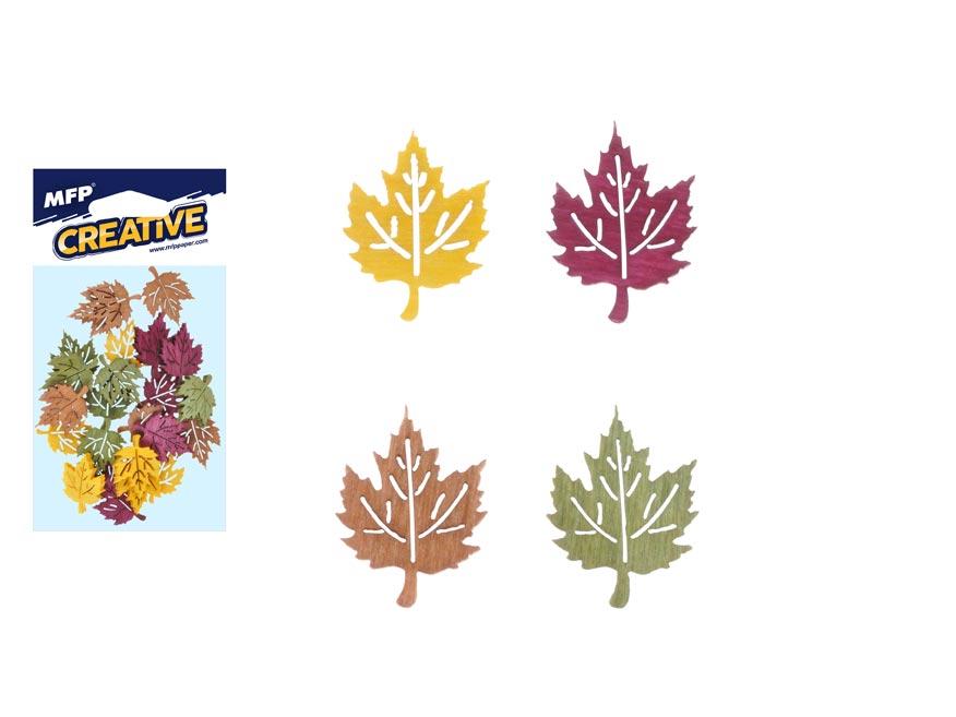 Dekorácia list farbistý javor list 12ks 4cm mix