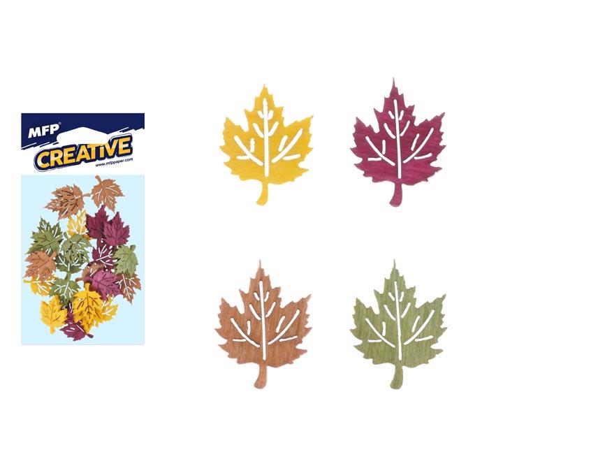 Dekorácia list farbistý javor list 24ks 2cm mix