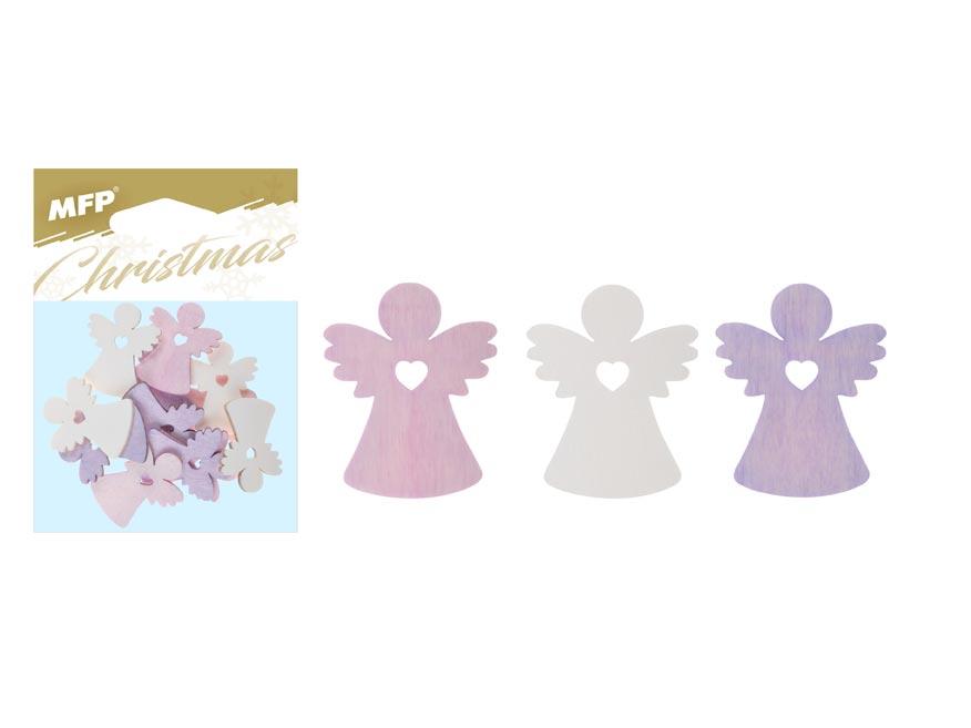 Dekorácia anjel farbistý  12ks 4cm mix