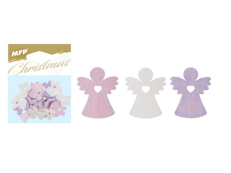 MFP 8885872 Dekorácia list anjel prírodné 24ks 2cm mix