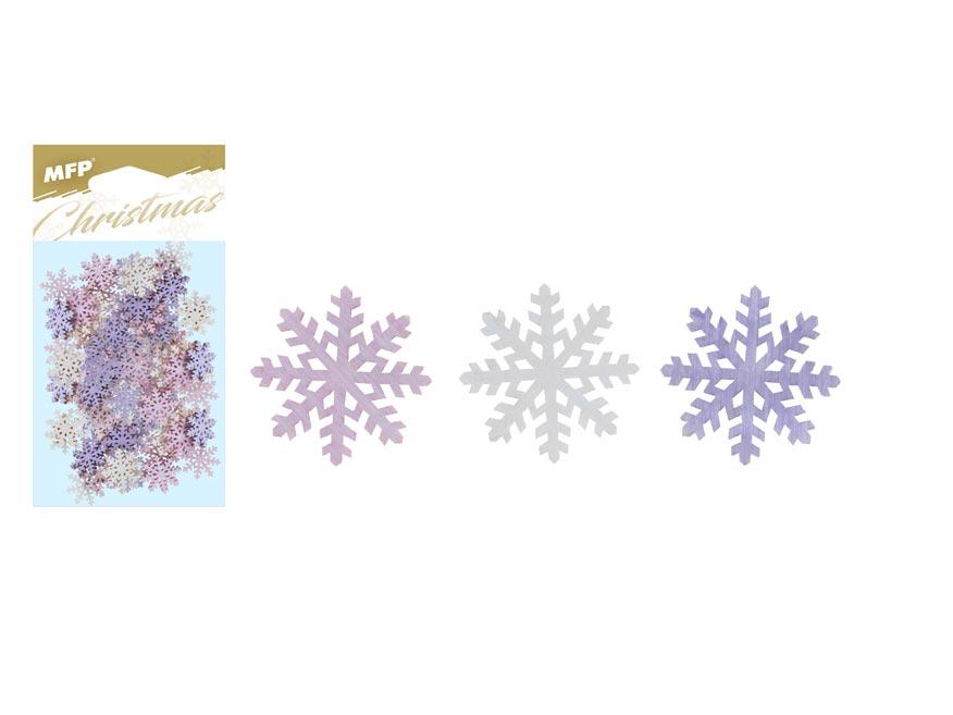 Dekorácia list vločka prírodné 24ks 2cm mix