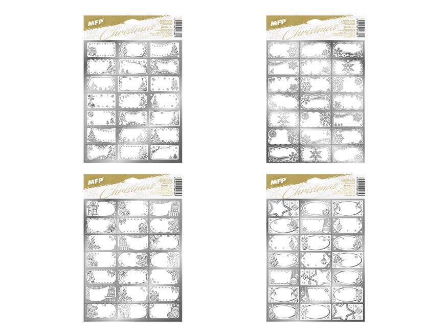 samolepky na darčeky vianočné strieborné 200x300mm/21ks 8885930