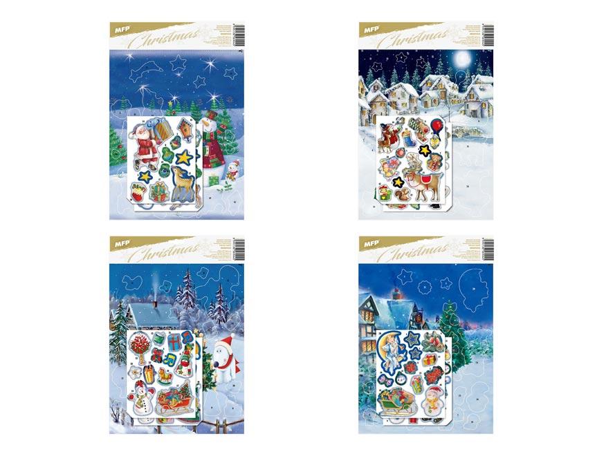 adventný kalendár samolepky 245x360mm 8886002