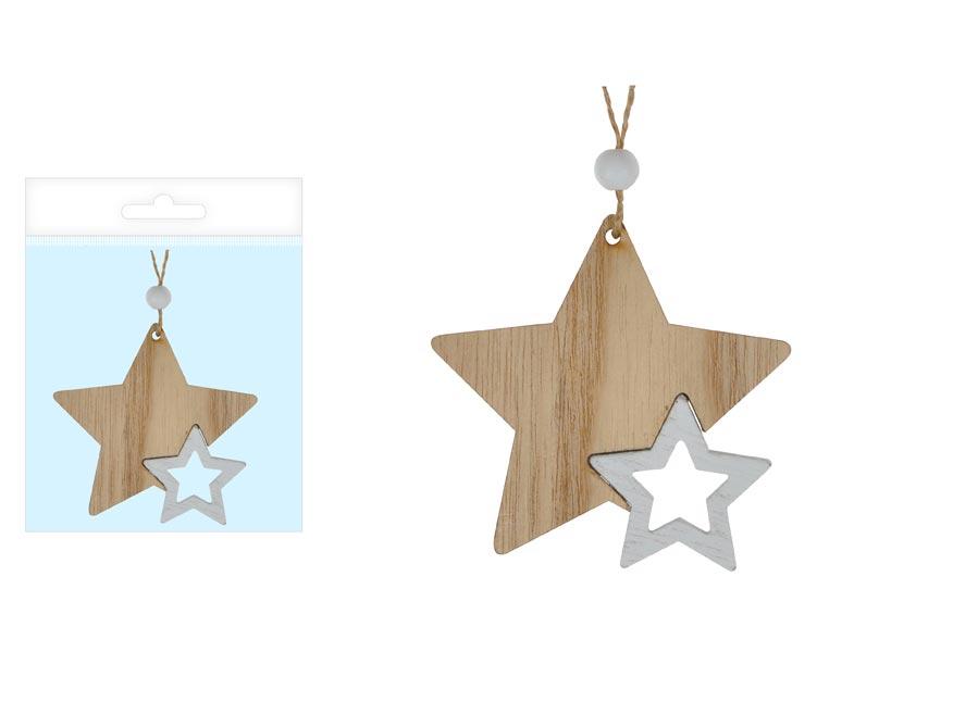 MFP 8886005 hviezda drevo prírodný 8cm záves