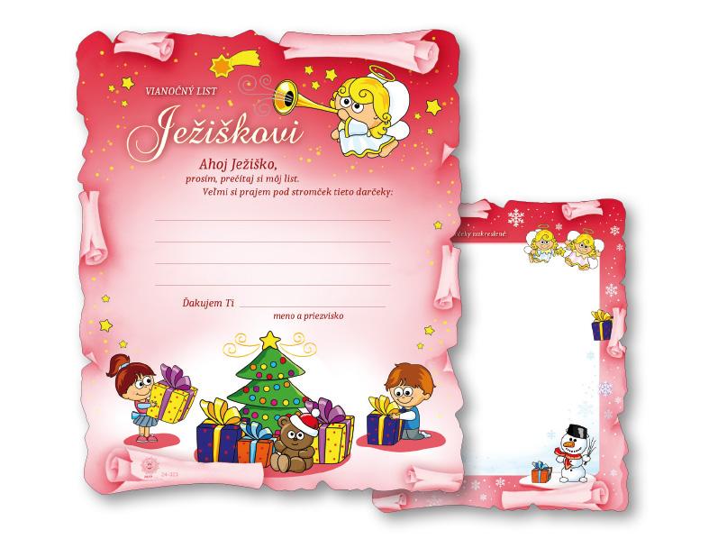 SK Blahoželanie vianočné V24-323 H List Ježiškovi - D