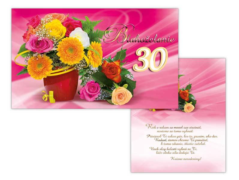 SK Blahoželanie k narodeninám 30 M11-414 H