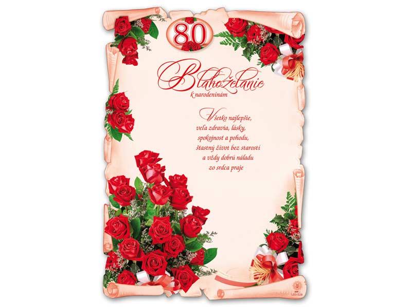 SK Blahoželanie k narodeninám A4 M03-029 (80) (S) L