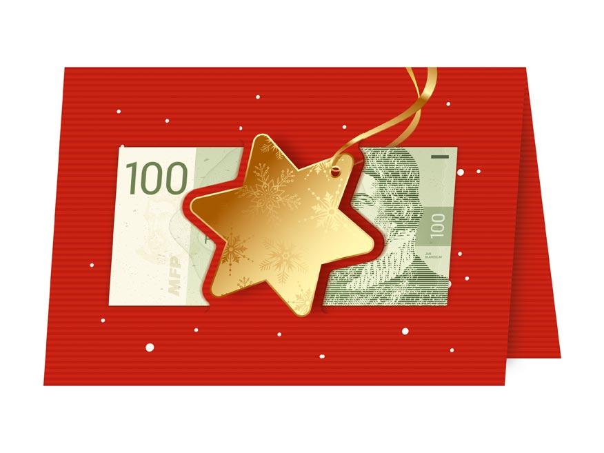 Blahoželanie vianočný V24- 385 W (výsek na peniaze)